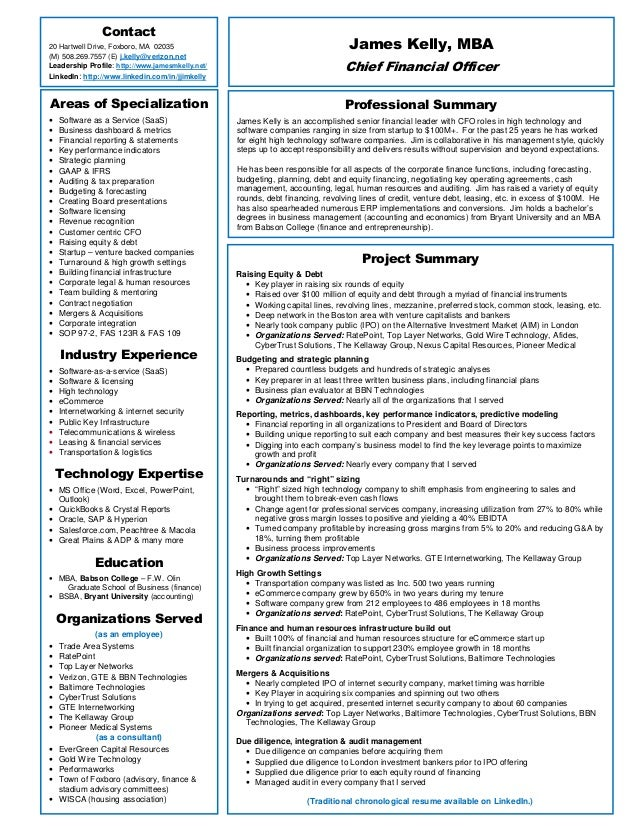 James kelly 1 page resume for Saas resume samples