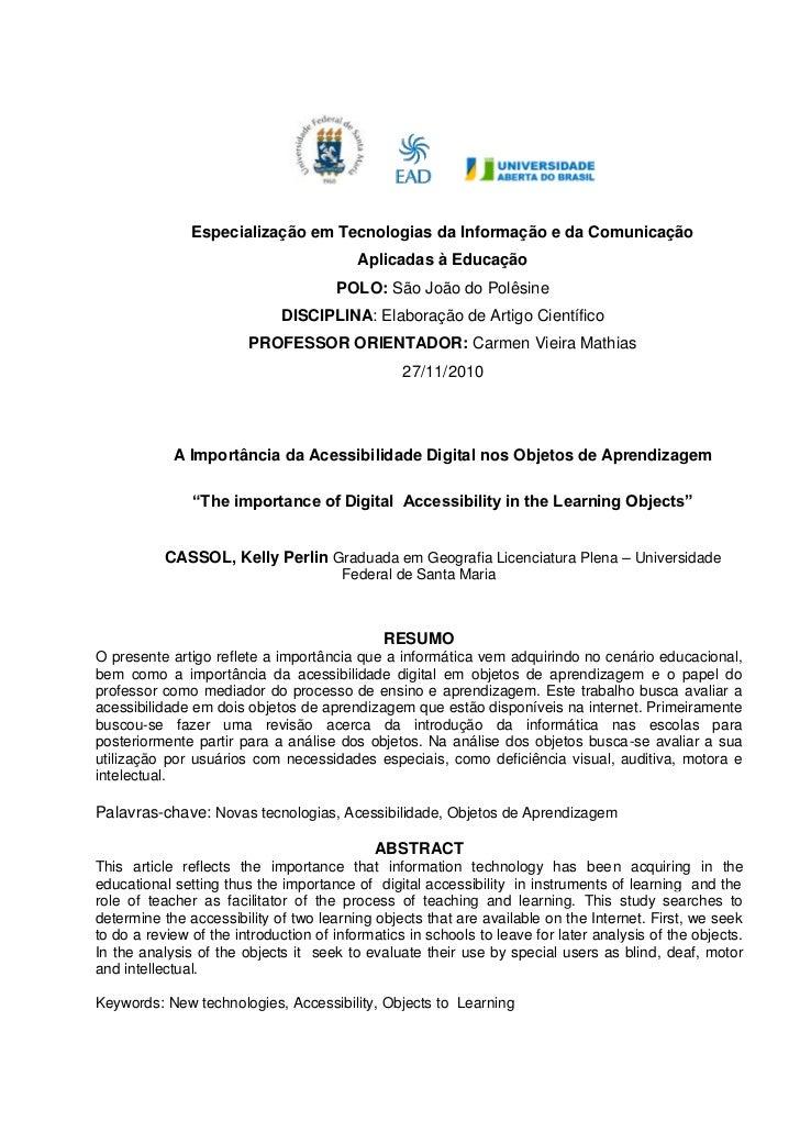 Especialização em Tecnologias da Informação e da Comunicação                                          Aplicadas à Educação...