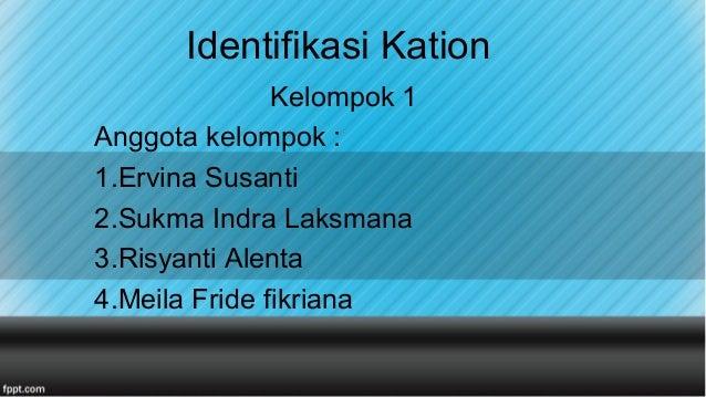 Identifikasi Kation Kelompok 1 Anggota kelompok : 1.Ervina Susanti 2.Sukma Indra Laksmana 3.Risyanti Alenta 4.Meila Fride ...