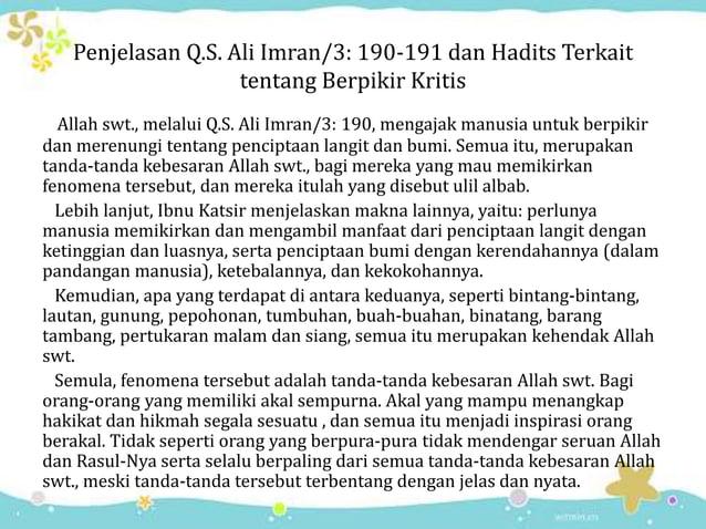 Penjelasan Q.S. Ali Imran/3: 190-191 dan Hadits Terkait tentang Berpikir Kritis Allah swt., melalui Q.S. Ali Imran/3: 190,...