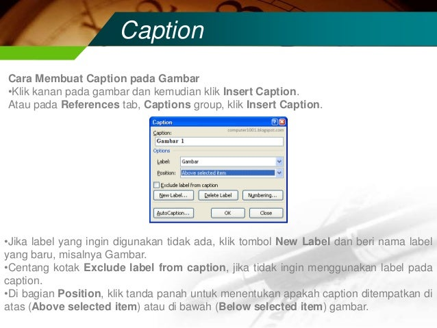 Membuat Caption Gambar Di Word 5