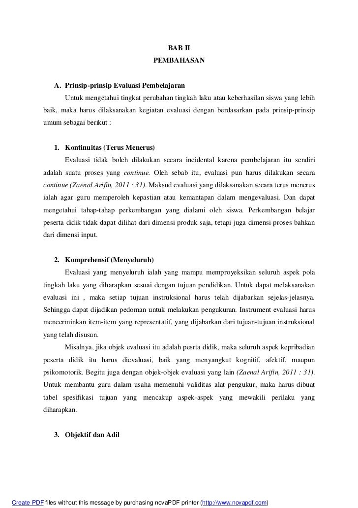 BAB II                                                  PEMBAHASAN               A. Prinsip-prinsip Evaluasi Pembelajaran ...