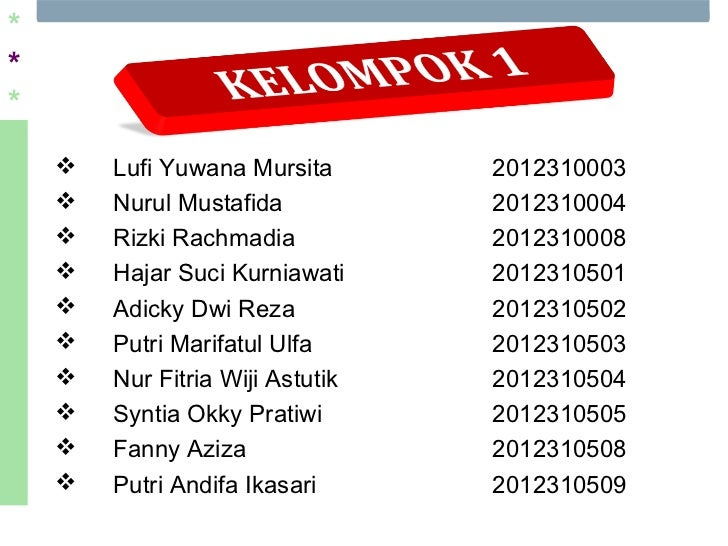 ***       Lufi Yuwana Mursita       2012310003       Nurul Mustafida           2012310004       Rizki Rachmadia        ...
