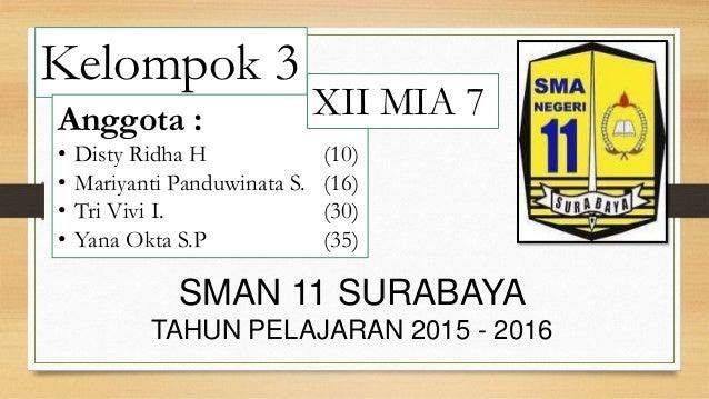 Kelompok 3 Anggota : • Disty Ridha H (10) • Mariyanti Panduwinata S. (16) • Tri Vivi I. (30) • Yana Okta S.P (35) SMAN 11 ...