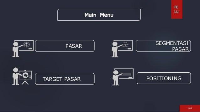 FE  UJ  Main Menu  PASAR  SEGMENTASI  PASAR  TARGET PASAR POSITIONING  exit