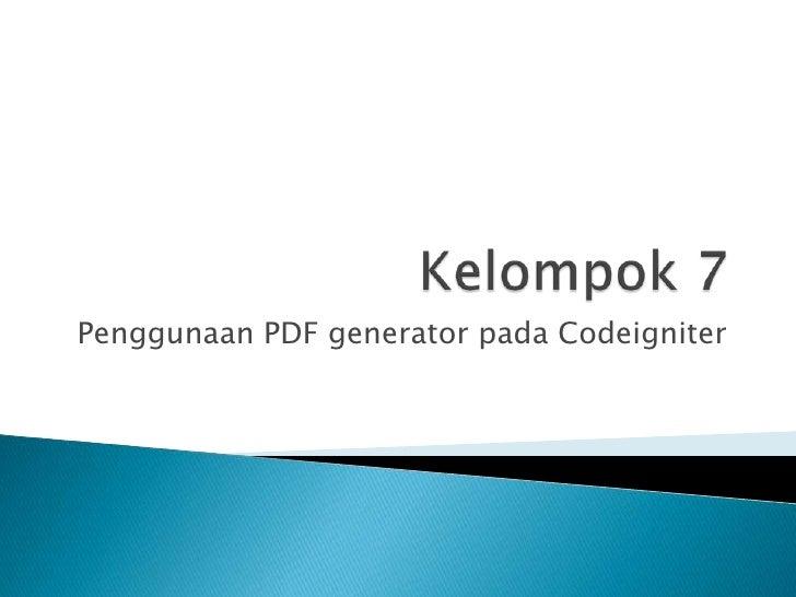 Penggunaan PDF generator pada Codeigniter