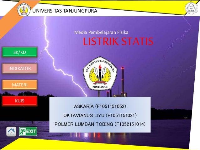 SK/KD INDIKATOR MATERI KUIS UNIVERSITAS TANJUNGPURA LISTRIKSTATIS Media Pembelajaran Fisika ASKARIA (F1051151052) OKTAVIAN...