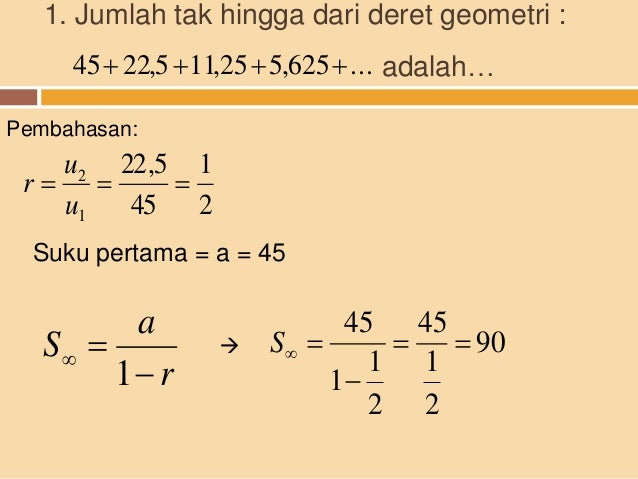 10 Contoh Soal Cerita Tentang Deret Geometri Tak Hingga Kumpulan Contoh Soal