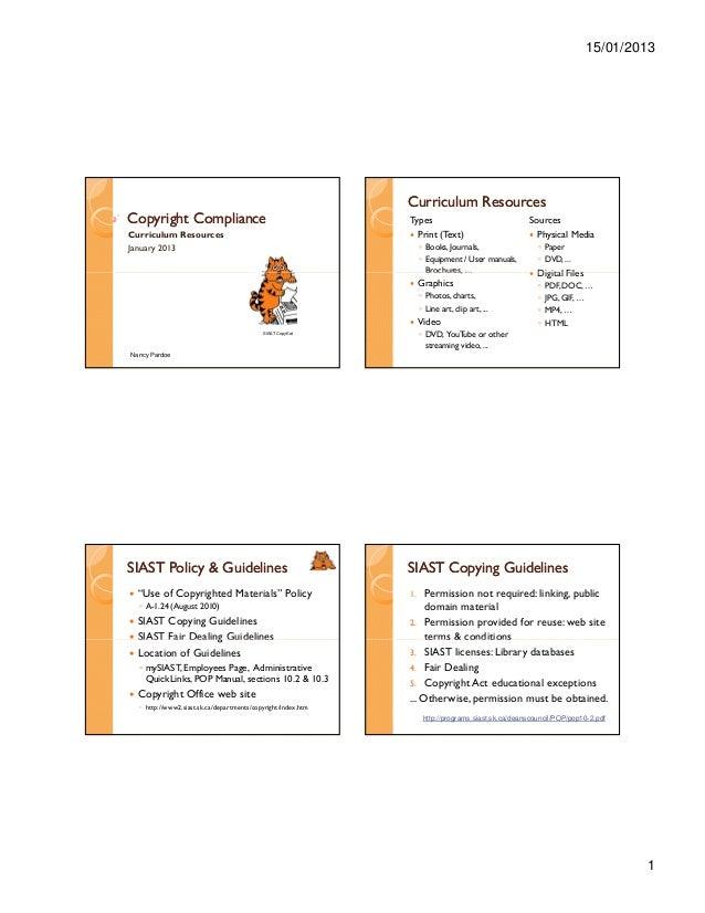 15/01/2013                                                                Curriculum ResourcesCopyright Compliance        ...