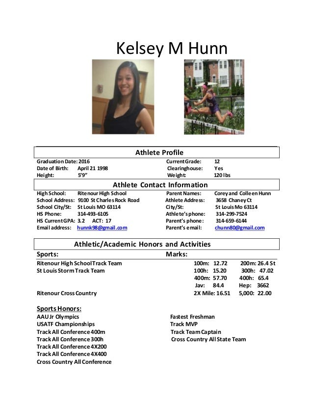 Kelsey m Hunn athlete resume