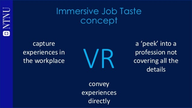 VR Immersive Job Taste concept convey experiences directly capture experiences in the workplace a 'peek' into a profession...