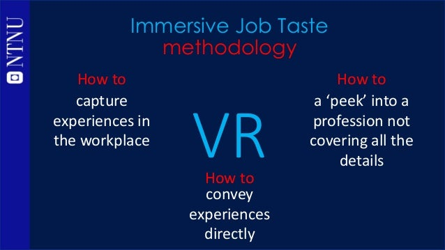 VR Immersive Job Taste methodology convey experiences directly a 'peek' into a profession not covering all the details How...