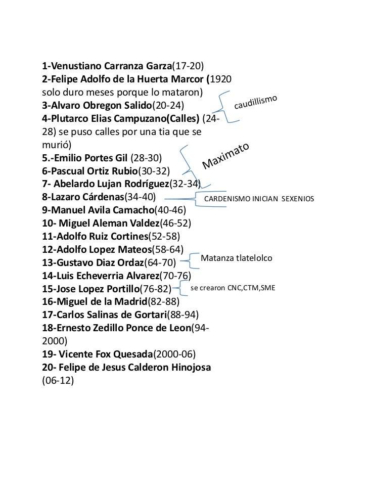 1-Venustiano Carranza Garza(17-20)2-Felipe Adolfo de la Huerta Marcor (1920solo duro meses porque lo mataron)3-Alvaro Obre...