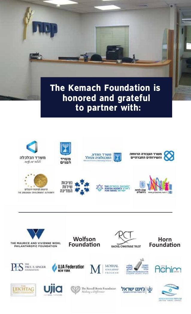 The Kemach Foundation is honored and grateful to partner with: Wolfson Founda�on Horn Founda�on