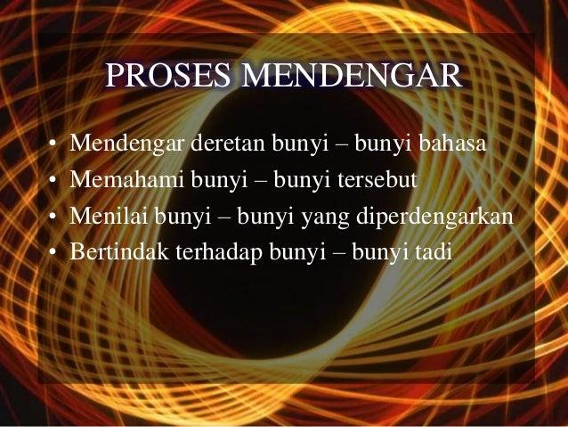 PROSES MENDENGAR•   Mendengar deretan bunyi – bunyi bahasa•   Memahami bunyi – bunyi tersebut•   Menilai bunyi – bunyi yan...