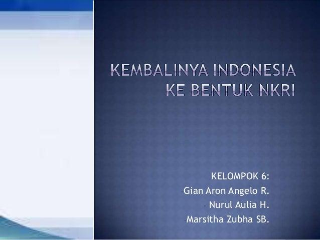 KELOMPOK 6: -Gian Aron Angelo R. - Nurul Aulia H. -Marsitha Zubha SB.