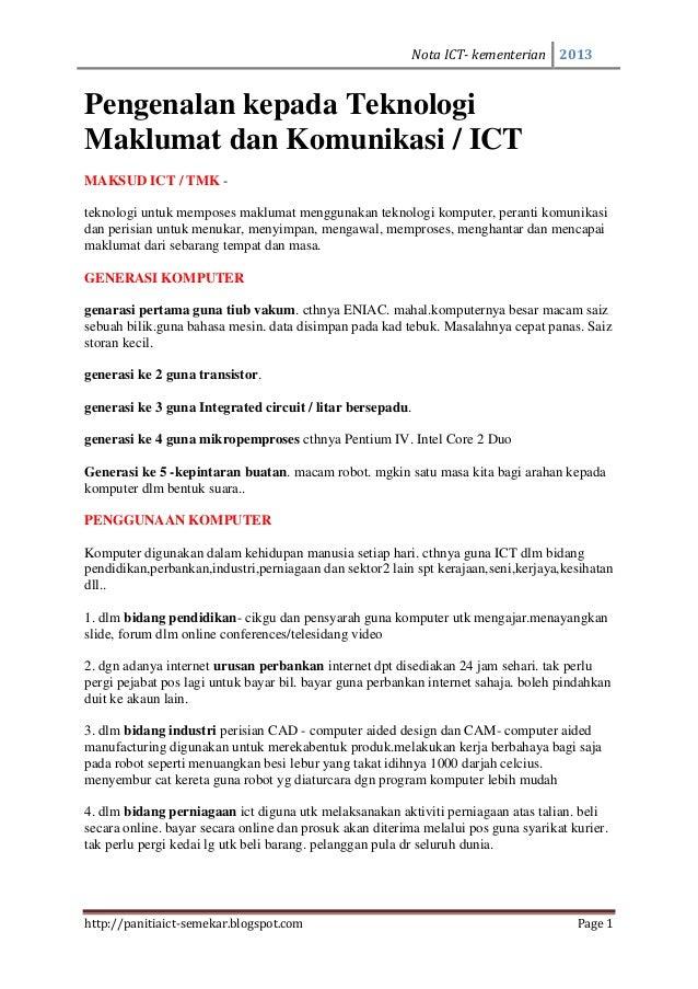 Nota ICT- kementerian 2013Pengenalan kepada TeknologiMaklumat dan Komunikasi / ICTMAKSUD ICT / TMK -teknologi untuk mempos...