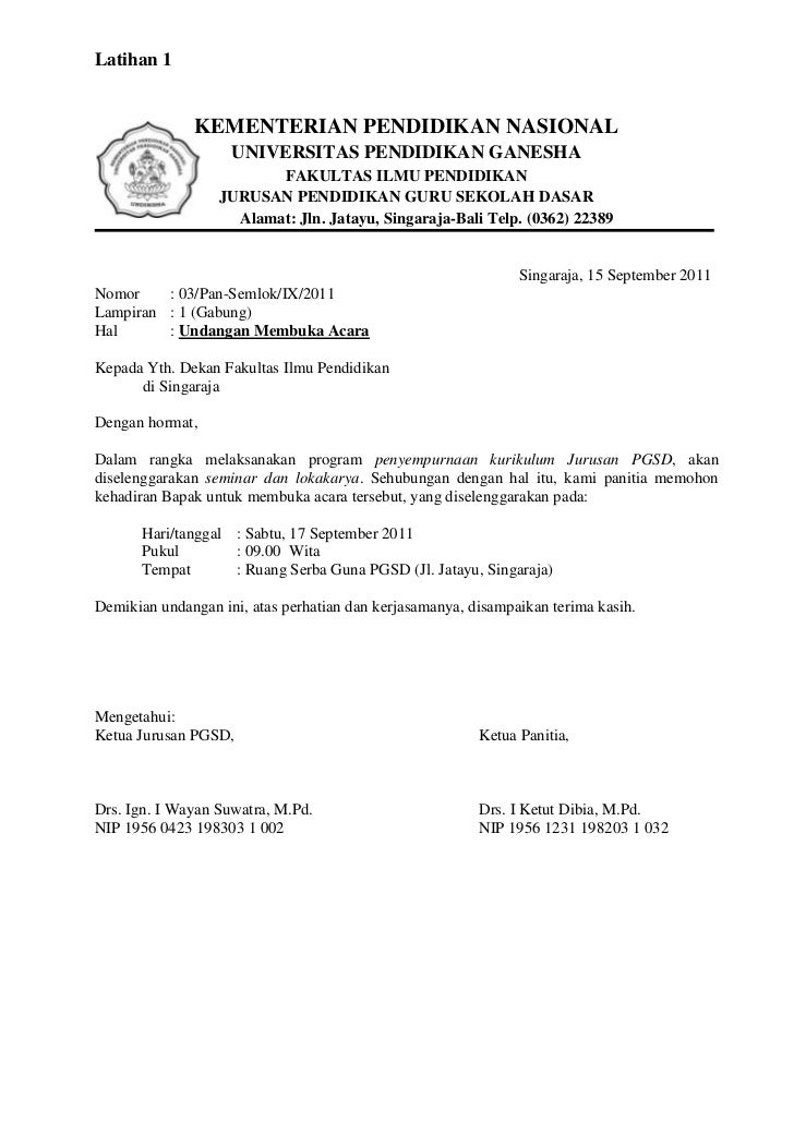 Latihan 1 Tik Contoh Surat Kementerian Pendidikan Nasional