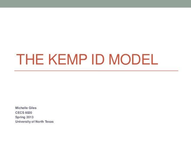 THE KEMP ID MODELMichelle GilesCECS 6020Spring 2013University of North Texas