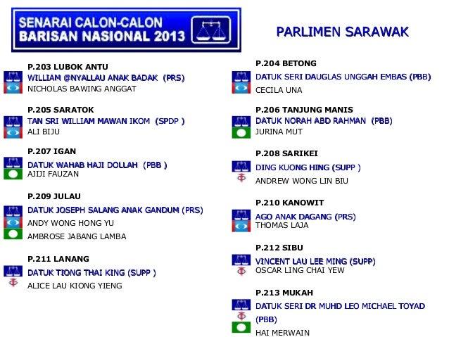 PARLIMEN SARAWAK                                        P.204 BETONGP.203 LUBOK ANTUWILLIAM @NYALLAU ANAK BADAK (PRS)     ...
