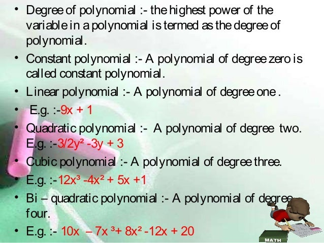 Polynomials Class 9th