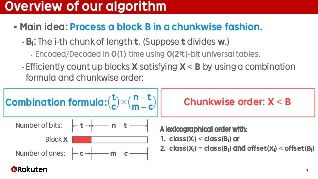 7 Overview of our algorithm § Main idea: Process a block B in a chunkwise fashion. • Bi: The i-th chunk of length t. (Supp...