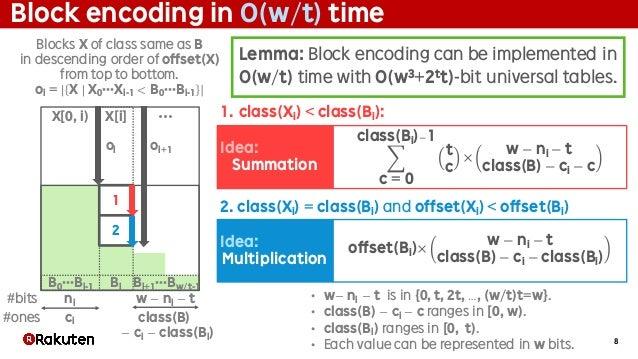 8 Block encoding in O(w/t) time Lemma: Block encoding can be implemented in O(w/t) time with O(w3+2tt)-bit universal table...
