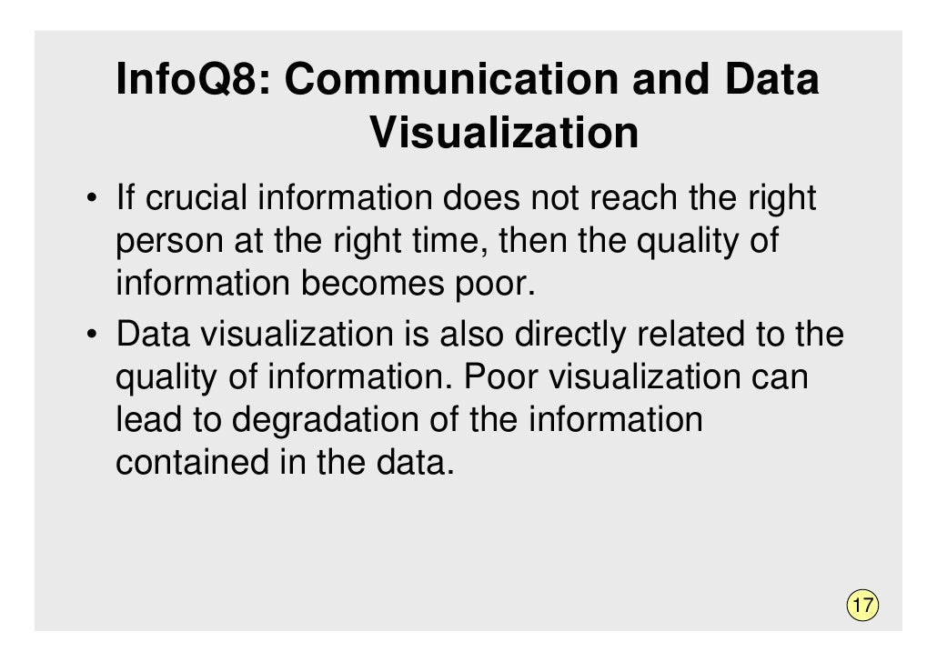 InfoQ8: Communication and Data              Visualization • If crucial information does not reach the right   person at th...