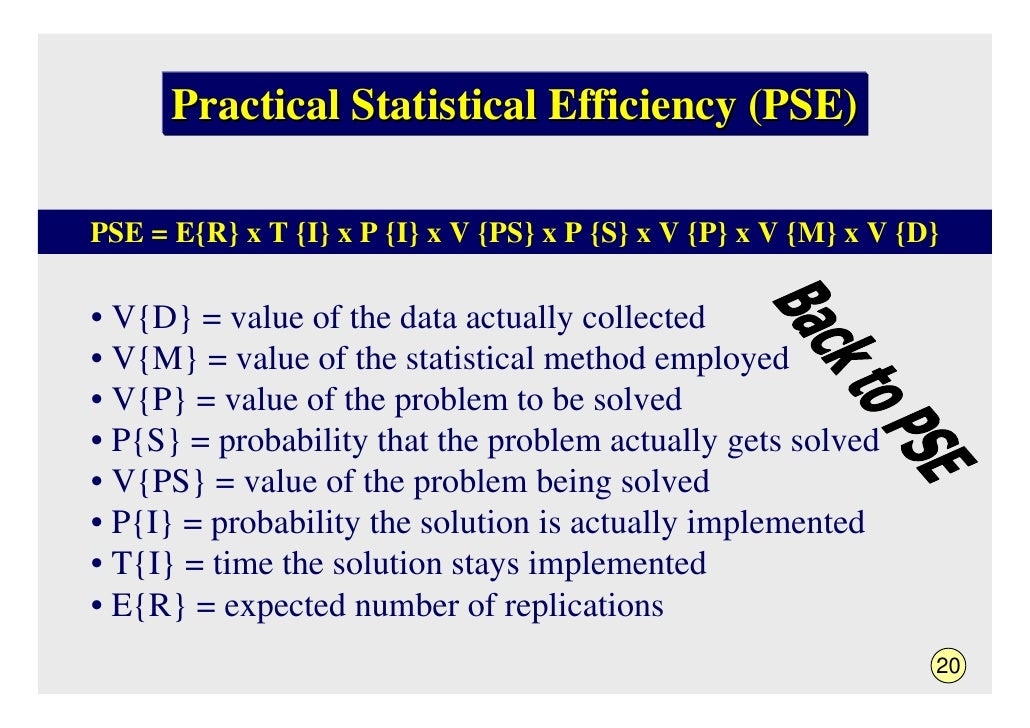 Practical Statistical Efficiency (PSE)  PSE = E{R} x T {I} x P {I} x V {PS} x P {S} x V {P} x V {M} x V {D}  • V{D} = valu...
