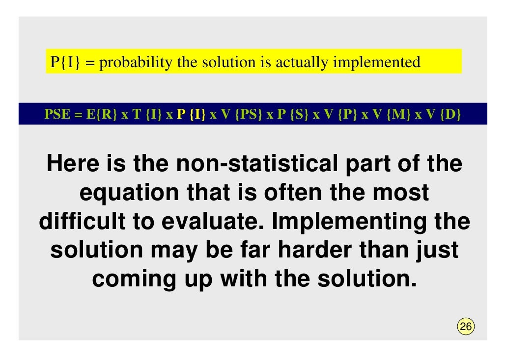 P{I} = probability the solution is actually implemented   PSE = E{R} x T {I} x P {I} x V {PS} x P {S} x V {P} x V {M} x V ...
