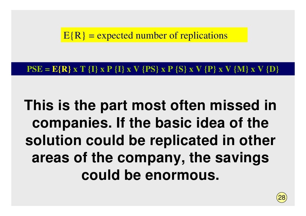 E{R} = expected number of replications   PSE = E{R} x T {I} x P {I} x V {PS} x P {S} x V {P} x V {M} x V {D}    This is th...