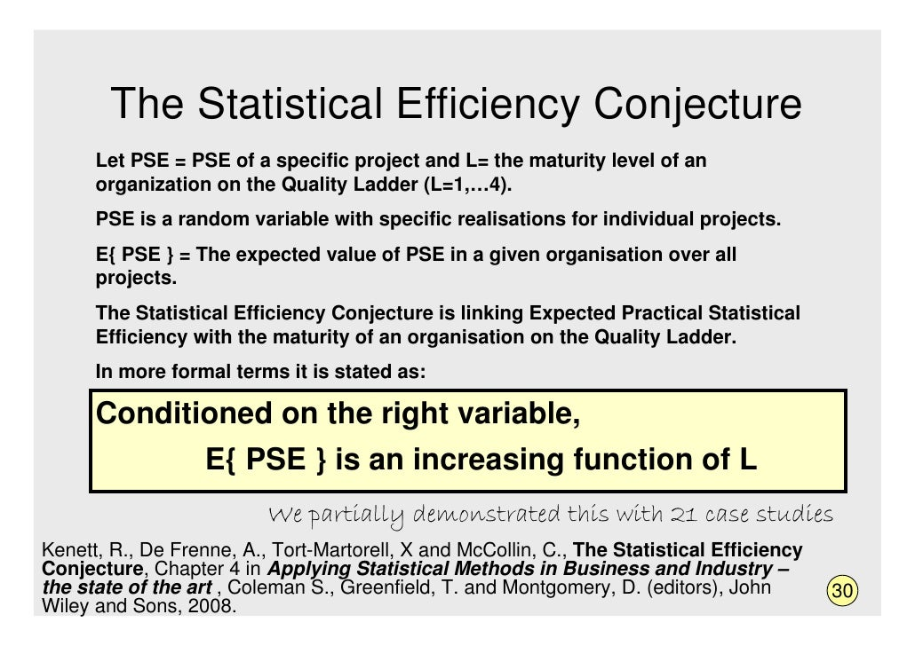 The Statistical Efficiency Conjecture       Let PSE = PSE of a specific project and L= the maturity level of an       orga...