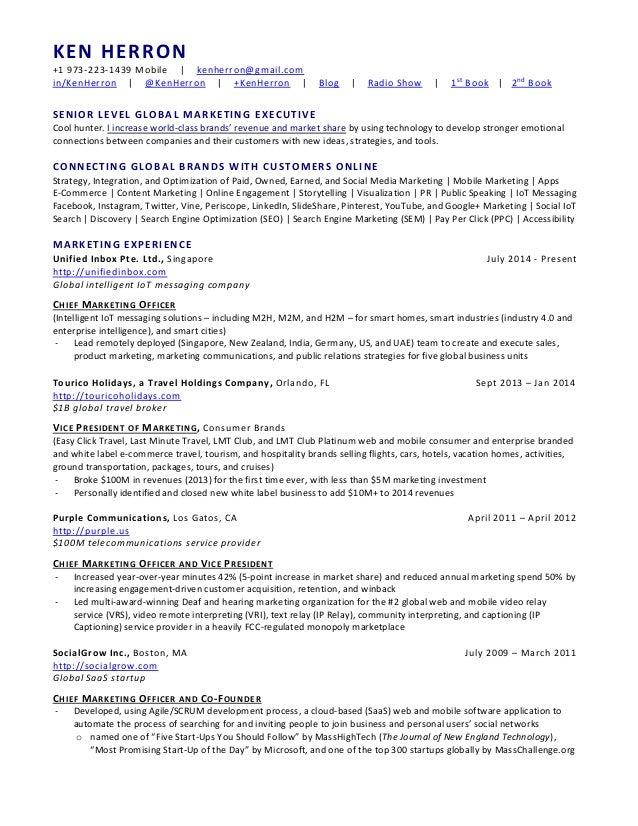 chief marketing officer resume