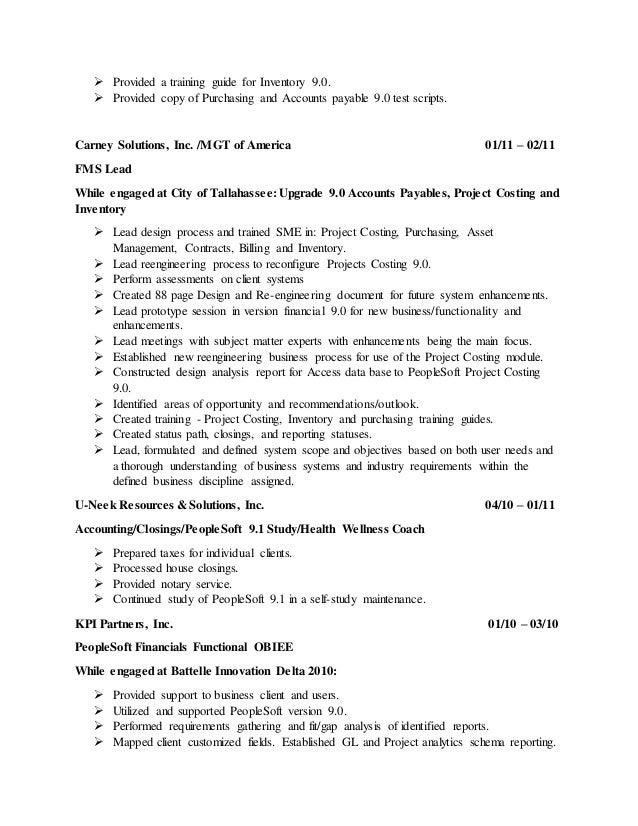 Peoplesoft ap analyst billing in resume