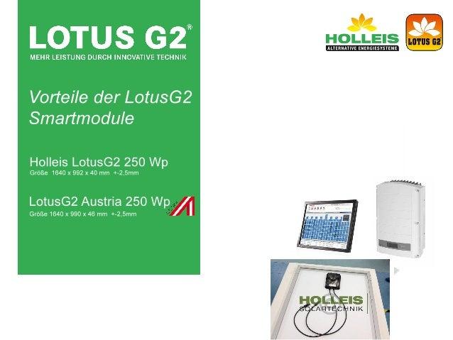 Vorteile der LotusG2 Photovoltaic Smartmodule
