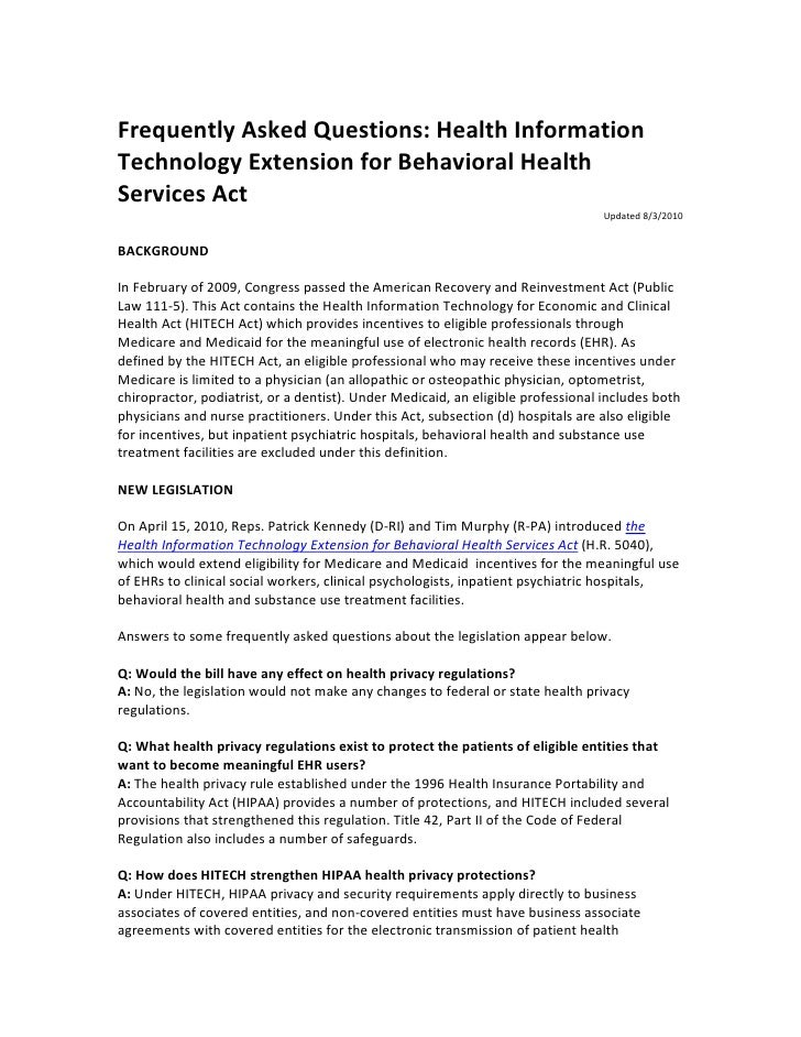 Frequently Asked Questions: Health Information Technology Extension for Behavioral Health Services Act                    ...