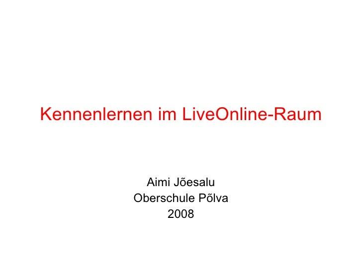 Kennenlernen im LiveOnline-Raum Aimi Jõesalu Oberschule Põlva 2008