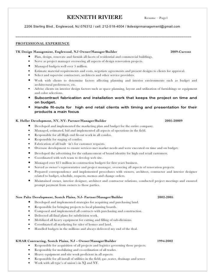 KENNETH RIVIERE                                       Resume – Page1        2206 Sterling Blvd., Englewood, NJ 076312 / ce...
