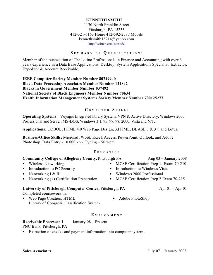 Kenneth Smith Resume Httptwitter.Comksmit5a Ieee Computer Society Me…