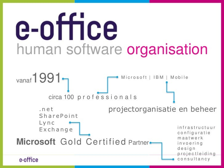 human software organisation<br />vanaf1991<br />                   circa 100  professionals<br />MicrosoftGold Certified P...