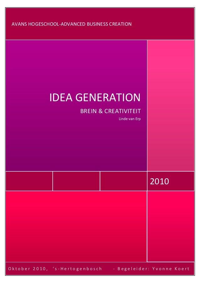 AVANS HOGESCHOOL-ADVANCED BUSINESS CREATION     dr                IDEA GENERATION                         BREIN & CREATIVI...
