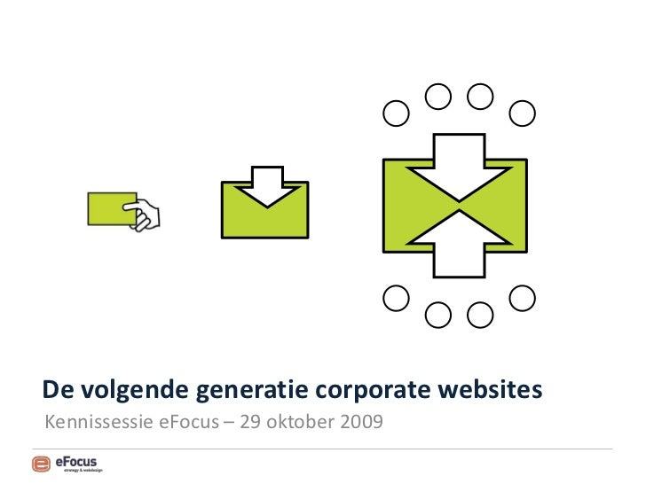 De volgende generatie corporate websites Kennissessie eFocus – 29 oktober 2009