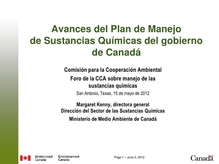 Avances del Plan de Manejode Sustancias Químicas del gobierno            de Canadá       Comisión para la Cooperación Ambi...