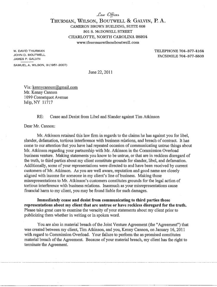 Cannon Cease and Desist letter by law firm