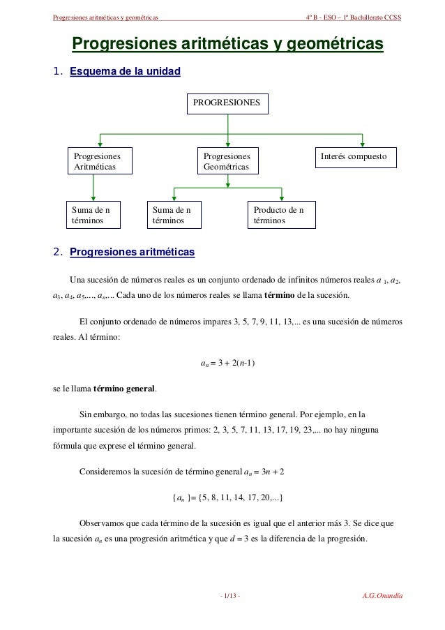Progresiones aritméticas y geométricas 4º B - ESO – 1º Bachillerato CCSS Progresiones aritméticas y geométricas 1. Esquema...