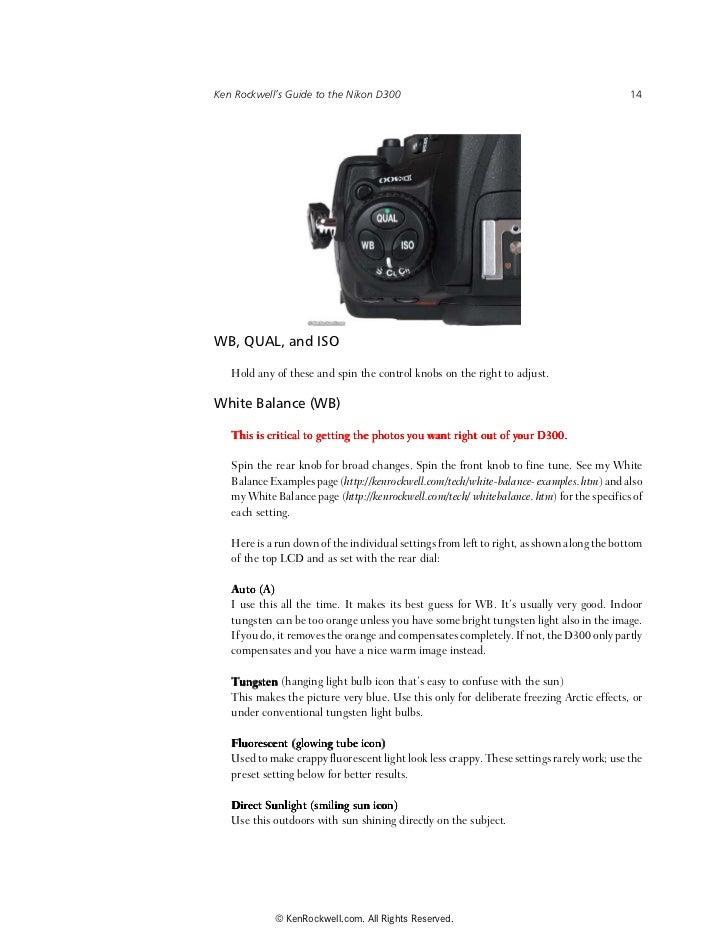 Ken Rockwell D300 Manual