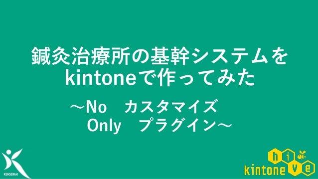 鍼灸治療所の基幹システムを kintoneで作ってみた ~No カスタマイズ Only プラグイン~