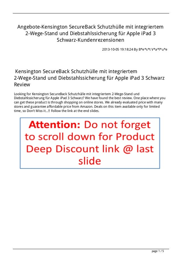 Angebote-Kensington SecureBack Schutzhülle mit integriertem 2-Wege-Stand und Diebstahlssicherung für Apple iPad 3 Schwarz-...