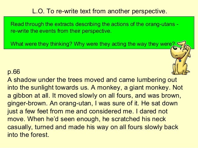 Read through the extracts describing the actions of the orang-utans - re-write the events from their perspective. What wer...