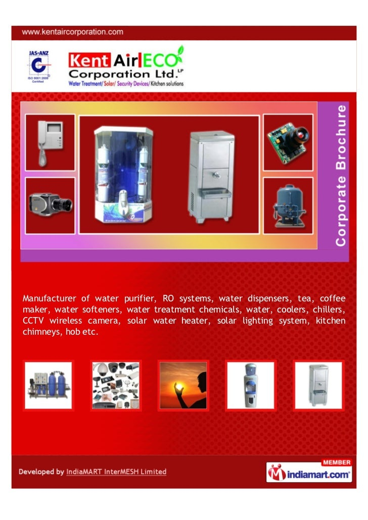 Manufacturer of water purifier, RO systems, water dispensers, tea, coffeemaker, water softeners, water treatment chemicals...